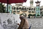 国画家周河河青海写生创作 东关清真大寺收藏其作品