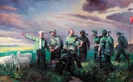 油画作品《边境线上活界碑――魏德友》