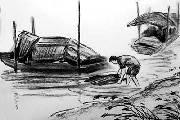 清远本土画家手绘北江疍家人生活风俗素描引疯传