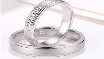 潮宏基陪伴 白18k金钻石戒指对戒情侣戒指婚戒_珠宝图片