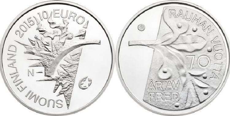 """世界最佳银币:芬兰""""欧洲和平70周年""""10欧元纪念银币鉴赏"""