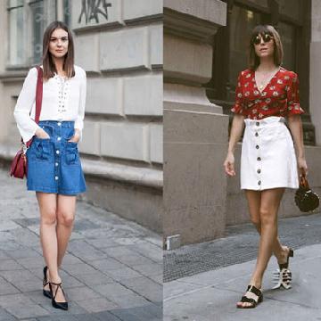 秋季穿衣搭配造型示范 半裙加几颗纽扣精致又复古