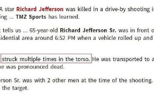 杰弗森父亲遭枪击 经抢救无效身亡