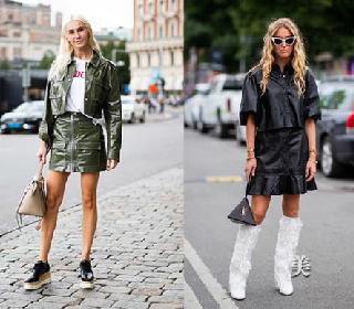 秋装穿衣搭配造型示范 皮外套+连衣裙秒变小仙女