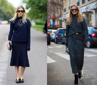 秋冬穿衣搭配技巧示范 针织半裙也能闪亮时尚街头