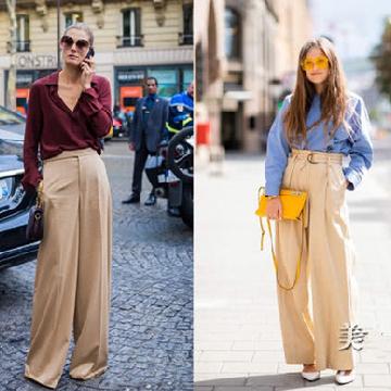 欧美达人服装流行趋势示范 卡其色阔腿裤才最百搭
