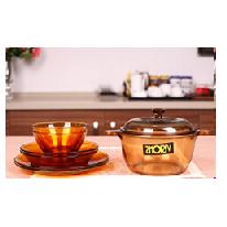 康宁晶彩透明锅组合VS-1.5+餐具6件组泡沫装
