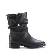 Furla黑色褶皱踝靴