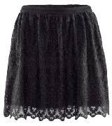H&M黑色蕾丝双层透明感半裙
