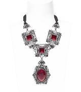 Lanvin浪凡红宝石镶钻项链