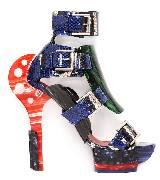Alexander McQueen亚历山大·麦昆2014年春夏系列蓝红绿混搭高跟鞋