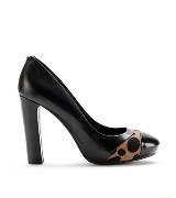 Furla黑色豹纹拼接高跟鞋