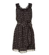 Anna Sui安娜苏黑色印花无袖连衣裙