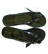 Furla 黑绿色蝴蝶结饰沙滩鞋