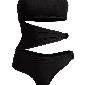 H&M 扭结饰黑色半连体泳装