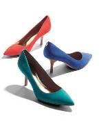 COACH 蓝绿色麂皮高跟鞋