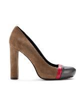 Furla棕灰拼接高跟鞋