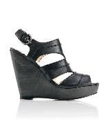 Coach 黑色坡跟皮革凉鞋