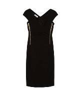 莫斯奇诺(Moschino)黑色紧身浅V连衣裙
