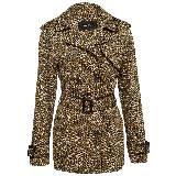 KOOKAÏ 2013年棕色几何图案双排扣风衣外套