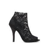 D&G黑色蕾丝包脚高跟鞋