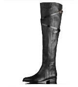 巴宝莉Burberry柔软粒面皮革饰带细节过膝长靴