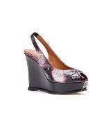 Fendi红色蛇纹坡跟鞋