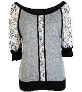 KOOKAÏ 2013年春夏蕾丝拼接灰色针织中袖上衣