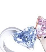 格拉夫 (Graff) 铂金玫瑰金心形粉红钻石配蓝钻石戒指