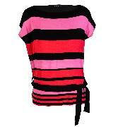 KOOKA 2013年春夏彩色条纹拼接针织短袖