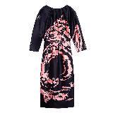 Miu Miu黑红花样连衣裙