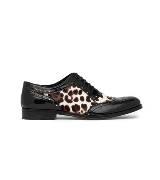 D&G黑色豹纹牛皮布洛克鞋