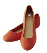 H&M橙红色平底单鞋