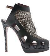 阿尔伯特-菲尔蒂黑色金属拉丝高跟鞋