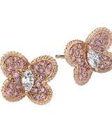 "Graff""蝴蝶""系列玫瑰金圆形粉红钻石配马眼形白色钻石耳环"