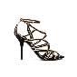 D&G黑色金边麂皮高跟凉鞋