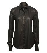 Alexander Wang 黑色小牛皮按钮式衬衫