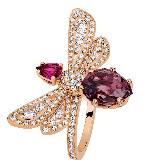 Chaumet尚美巴黎玫瑰金镶钻小蜜蜂戒指