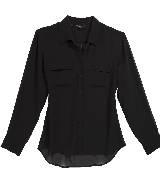 GUESS盖尔斯黑色雪纺衬衫