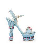 D&G水蓝色皮革高跟鞋