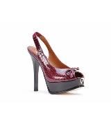 Fendi深红色鳄鱼皮高跟鞋