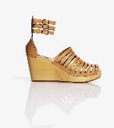 H&M柑子色带式坡跟鞋