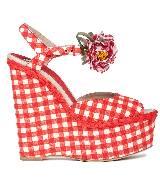 D&G红白格坡跟凉鞋