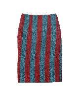 Prada普拉达2013秋冬系列蓝红色条纹短裙