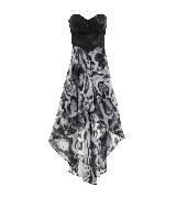 GUESS盖尔斯黑色不对称剪裁拼接连衣裙
