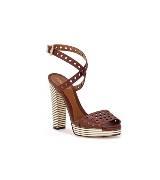 Fendi棕色镂空牛皮凉鞋