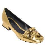 Bottega Veneta葆蝶家金色中跟鞋