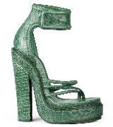 Givenchy绿色蜥蜴皮高跟凉鞋