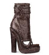 Givenchy涅色蜥蜴皮露趾短靴