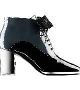 Chanel香奈儿2014春夏黑白漆皮系带高跟鞋